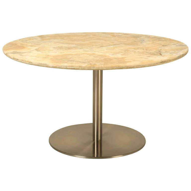 Round Dining Table in Onyx Stone and Stainless Steel For Sale