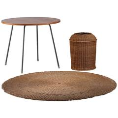 Egon Eiermann Table with Wicker Basket and Floor Mat, Germany, circa 1950