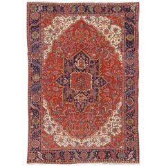 Antique Heriz Carpet with Stylized Central Medallion Set on Tomato  Red Field