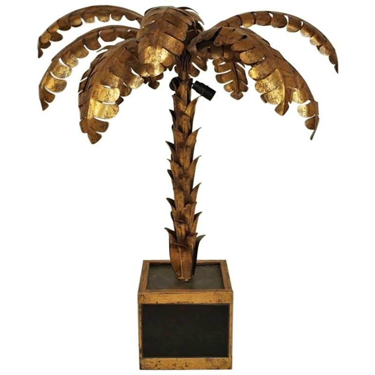 """Palm Tree"" Lamp in Gilt Brass in the Style of Jansen, circa 1950 For Sale"