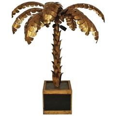 """Palm Tree"" Lamp in Gilt Brass in the Style of Jansen, circa 1950"