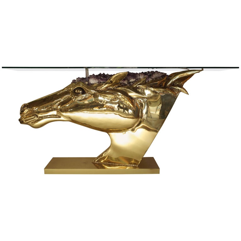 Horse Head Console in Gilt Brass and Amethyst by French Artist Duval Brasseur 1