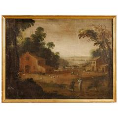 18th Century, French Painting Landscape with Figures