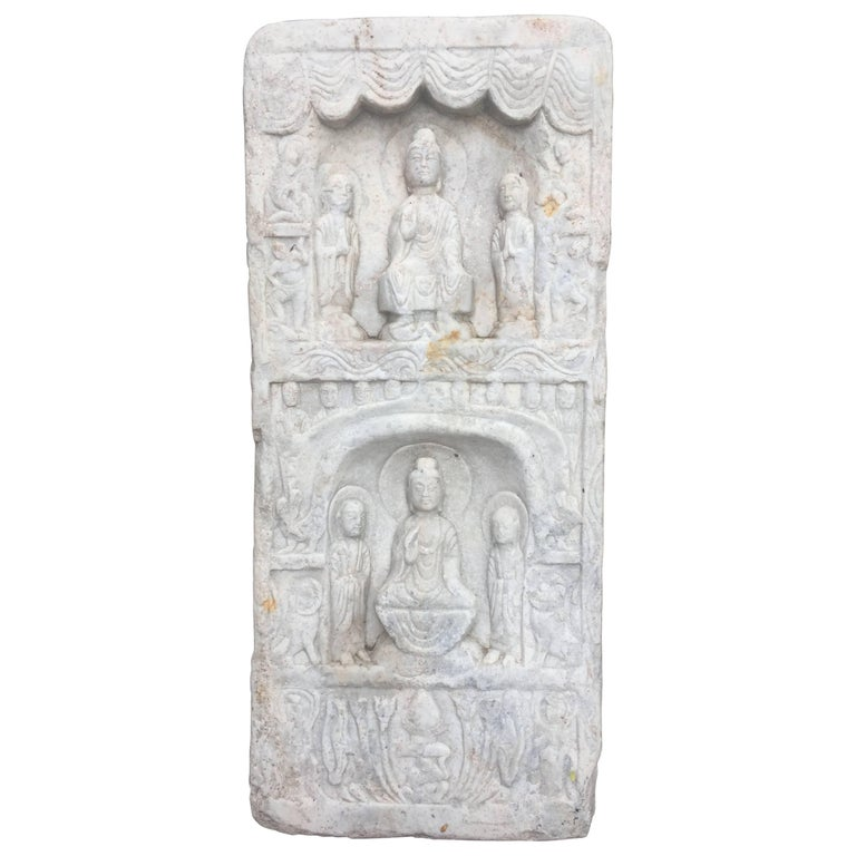 """Chinese Vintage Tall """"Double Buddha"""" Marble Stone Buddha Guan Yin"""