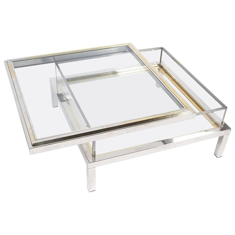 Refurbished Maison Jansen Brass and Chrome Vitrine Coffee Tables, 1970