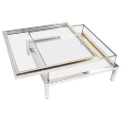 Refurbished Maison Jansen Brass and Chrome Vitrine Coffee Table, 1970