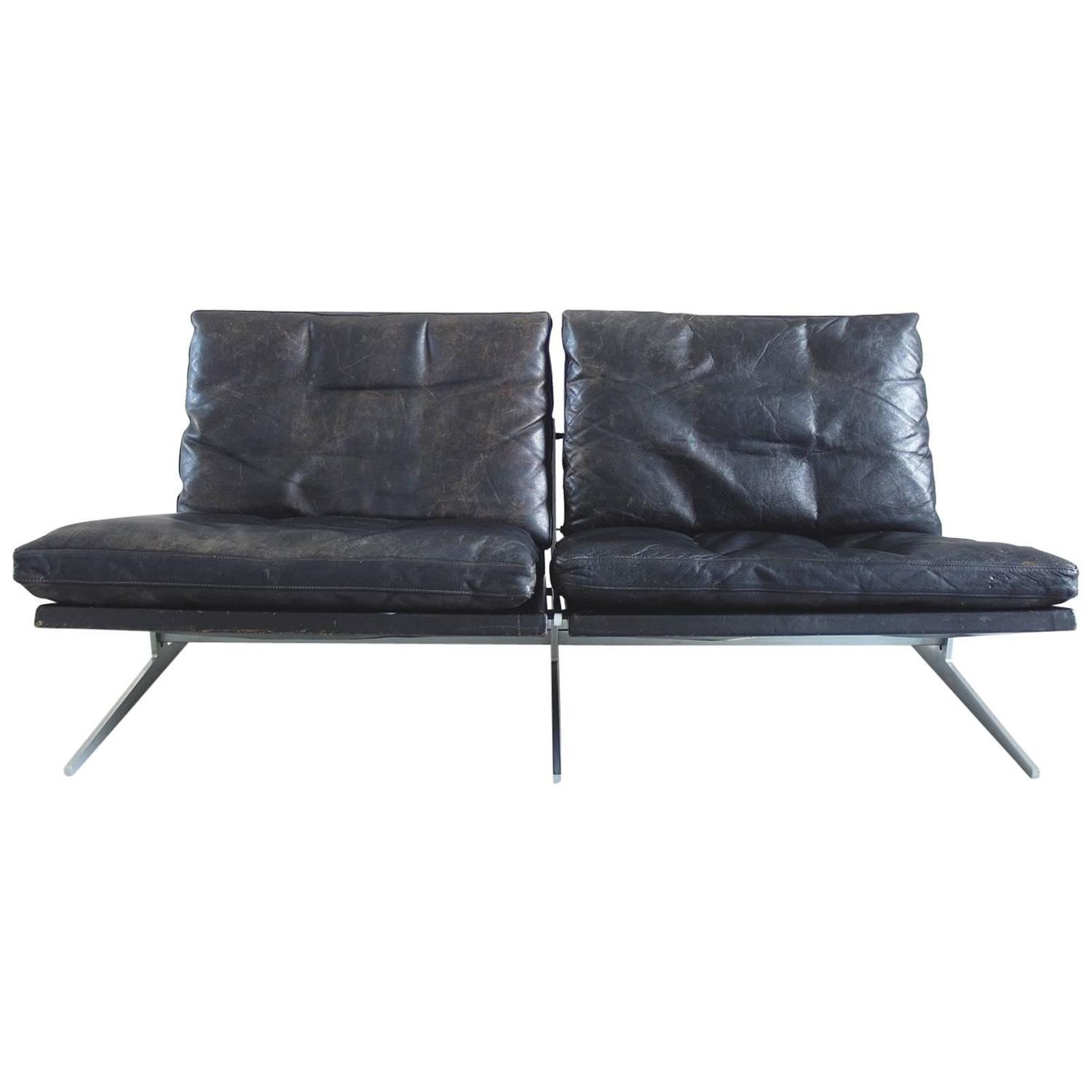 Maralunga two seat sofa by vico magistretti in black leather for fabricius and kastholm black leather two seat sofa for bo ex denmark 1962 parisarafo Image collections