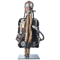 1924 Drager Turtle Back Rebreather on Custom Museum Stand