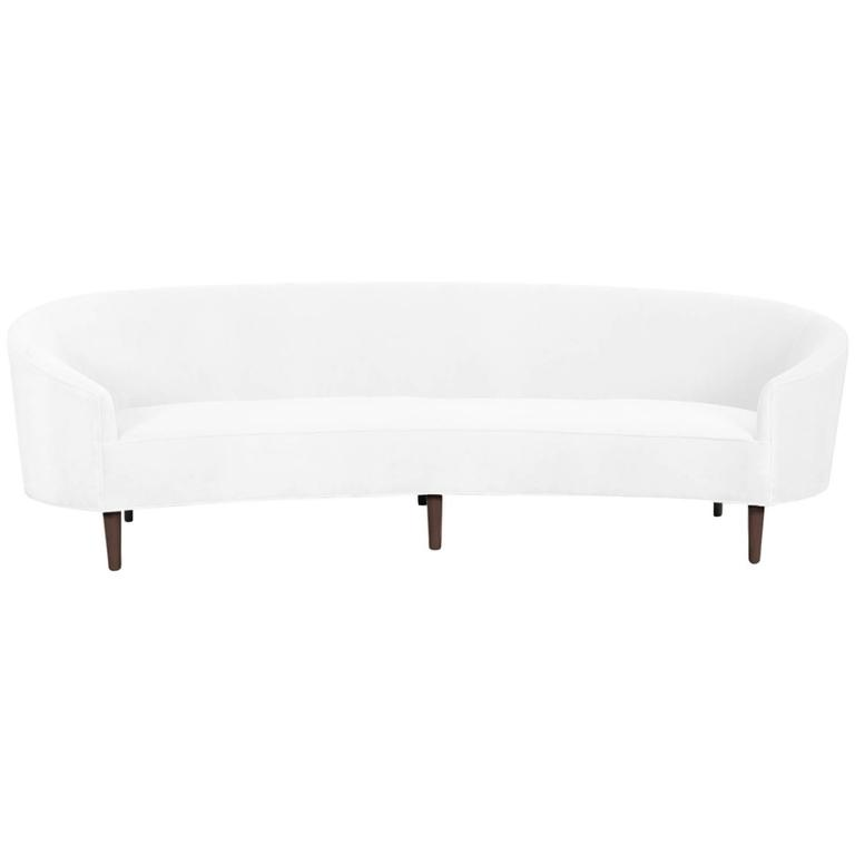Art Deco Style Crescent Sofa with Walnut Legs in Snow Velvet