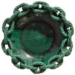 1950s Bowl in Emerald Green Ceramic with Chained Rope Edge by Vallauris, France