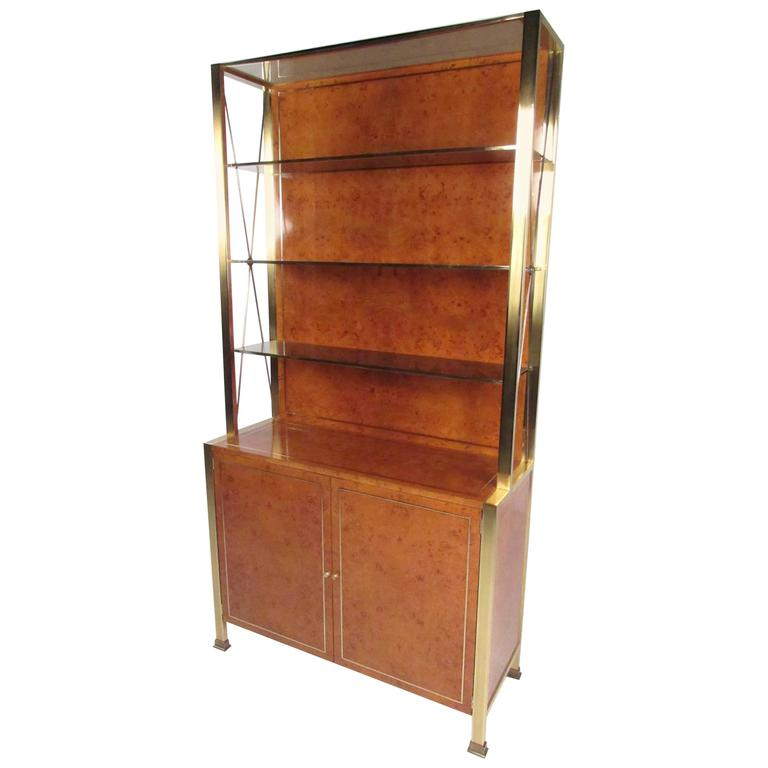 Vintage Burlwood Bookcase Cabinet in the Style of Willy Rizzo