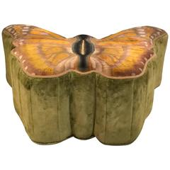 Hollywood Regency Style Palatial Butterfly Ottoman Poof