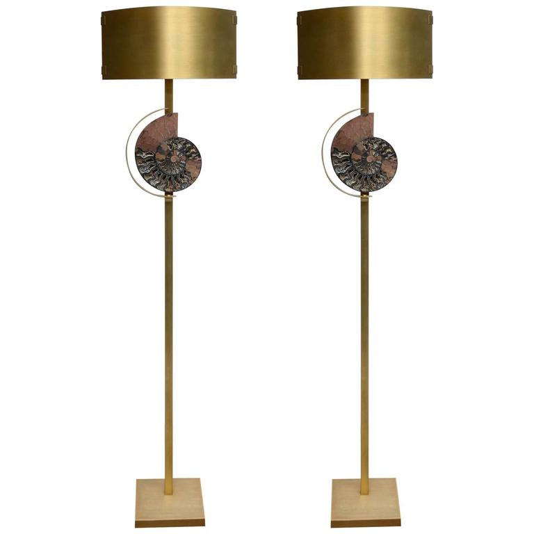 Pair of Patinated Brass Floor Lamps