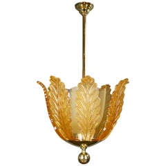 Swedish Rare Large Glass Chandelier by Orrefors