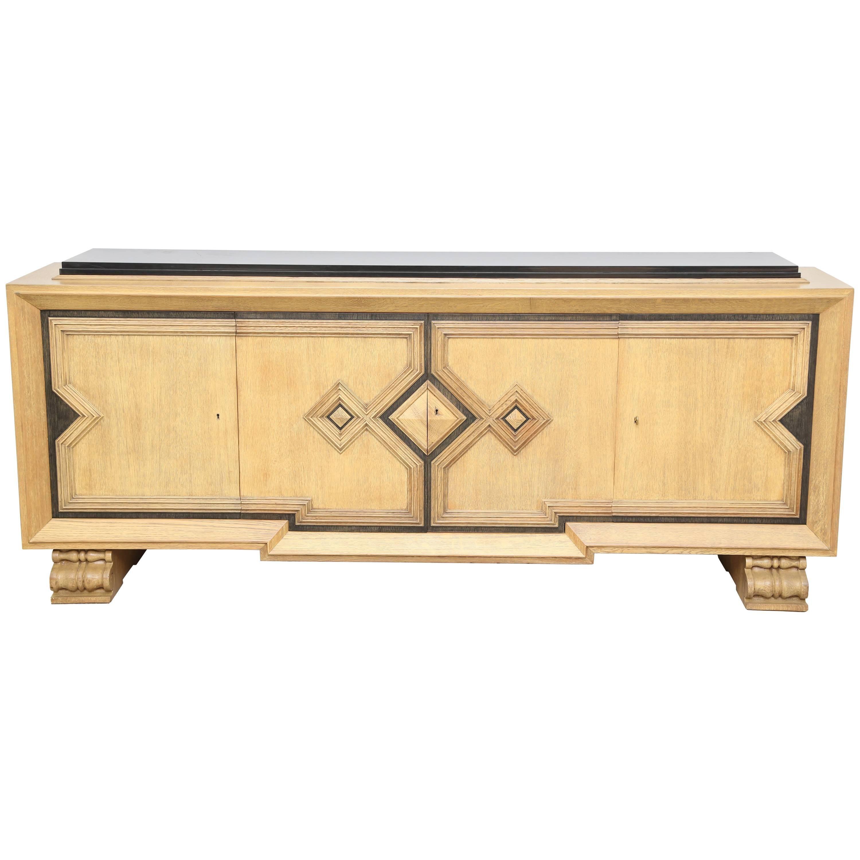 Art Deco  Geometric Design Golden Oak Sideboard by De Coene Black Belgian Top