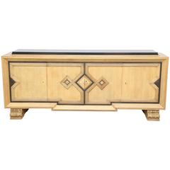 Art Deco  Geometric Design Golden Oak Sideboard by De Coene Black Belgian Top