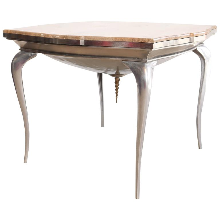 Mark Brazier Jones Mid-Century Unique Signed Central Table Steel and Marble