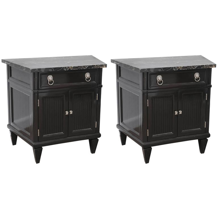 Pair Of Mid Century Nightstands Portor Marble Top Black Lacquer Wood At 1stdibs