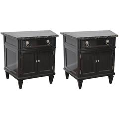Pair of Mid-Century Nightstands Portor Marble Top Black Lacquer Wood