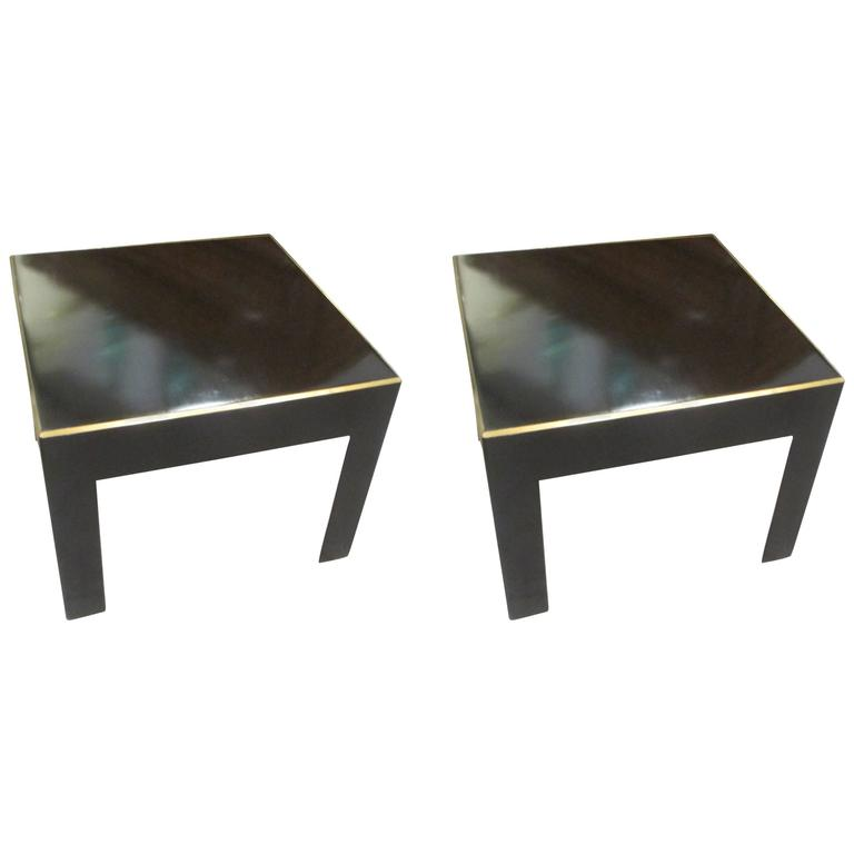 Pair of Ebonized Tables with Brass Banding