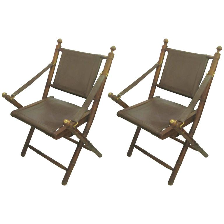 Pair Of Hand Stitched Leather And Faux Bamboo Campaign Folding Chairs For  Sale