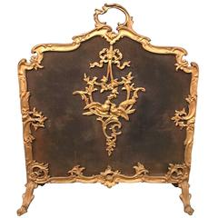 Louis XV Style French Bronze Fire Screen