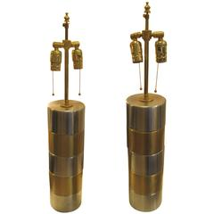 Pair of Brushed Steel and Brass Lamps