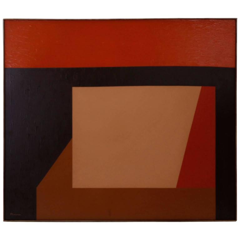 Striking geometric abstract acrylic painting on canvas with tight disciplined forms that suggest the future is quite simple. Signed in the lower left G Loomer, a painter represented in galleries and museums for decades. Title is written on the back;