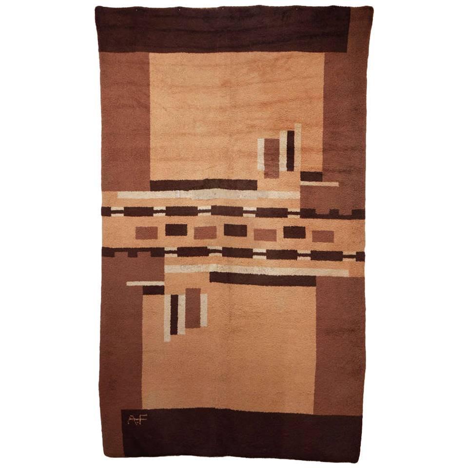 French Art Deco Wool Rug Monogrammed AF 1930's