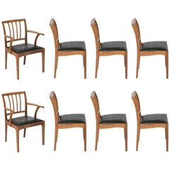 Edward Barnsley Set of Eight Walnut Chairs, England, circa 1971