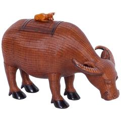 Traditional Chinese Wicker and Wood Lidded Ox Box