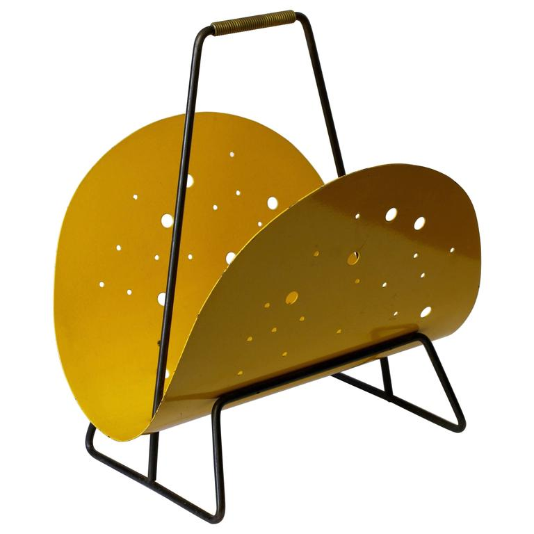1950s Perforated Yellow Metal Magazine Holder/Stand in the Style of Matégot
