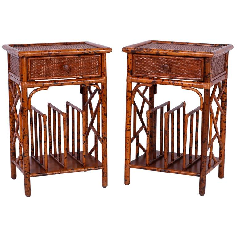 Pair of Mid-Century Grasscloth and Rattan Side or End Tables