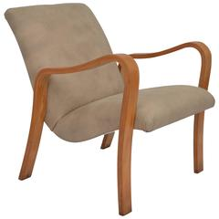 Armchair by Joaquim Tenreiro in Ivory Wood and Leather