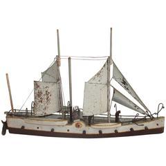 Early 20th Century Handmade Battleship Model Boat