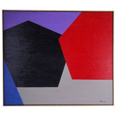 Bold Geometric Abstract Expressionist Painting on Canvas