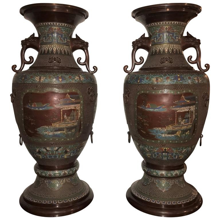Monumental Pair of 1930s Chinoiserie Lion Handled Vases or Urns For Sale