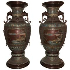 Monumental Pair of 1930s Chinoiserie Lion Handled Vases or Urns