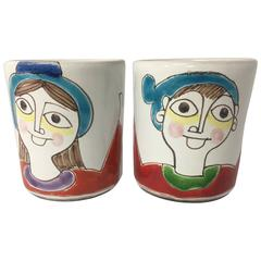 Beautiful Pair of His & Hers Hand-Painted Mugs by Giovanni Desimone