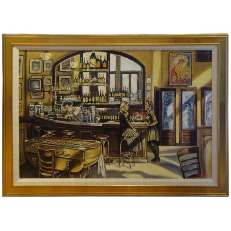 Important original painting new york city felix bar by