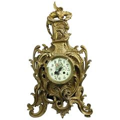 French AD Mougin Rococo Style Bronze Mantel Clock, Dragon Motif, circa 1880
