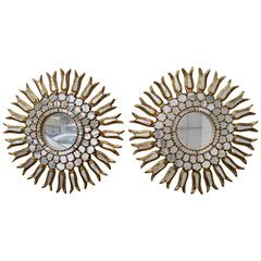 Spanish Gold Leaf Sunburst Mirror, Pair
