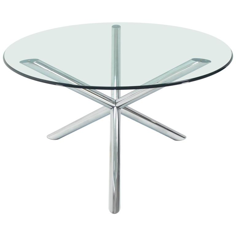 Chrome and glass round dinette dining table with jack base for Round glass and chrome dining table