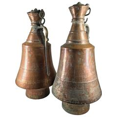 Pair of Large Copper Wine Jars with Lids