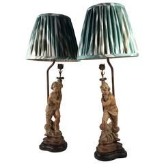 Pair of Figural Candlestick Lamps, Italian, 19th Century