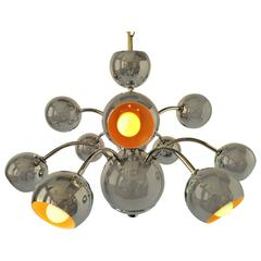 Nine Arm Chrome Eyeball Chandelier or Pendant , 1970s , USA