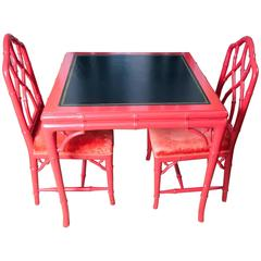 Red Lacquer Games Table and Chairs