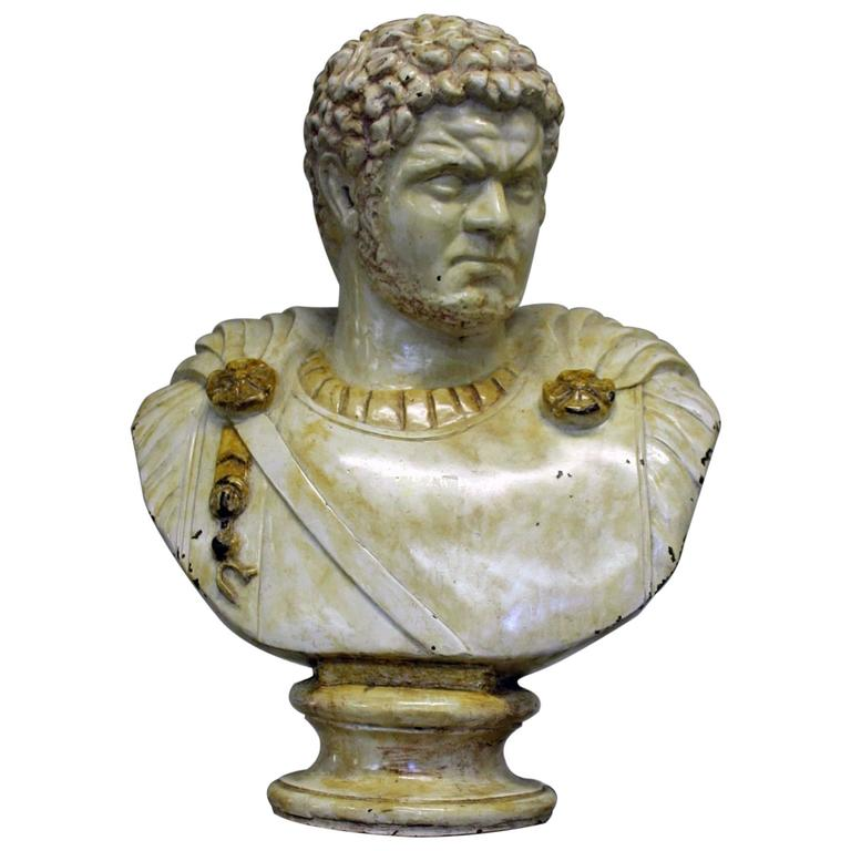 Mid-20th Century Bronze and Enamel Bust of Caracalla
