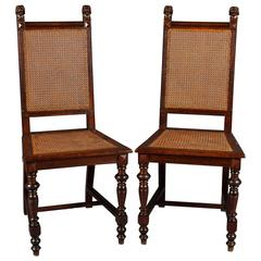 19th Century Pair of Neo Renaissance Chairs Dark Oak Wood