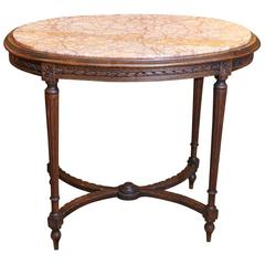 French Louis XVI Style Center Table Oval Form with Inset Marble Top